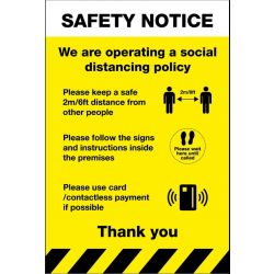 Safety Notice Social Distancing Sign