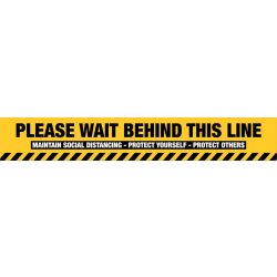 Wait Behind This Line (Yellow)
